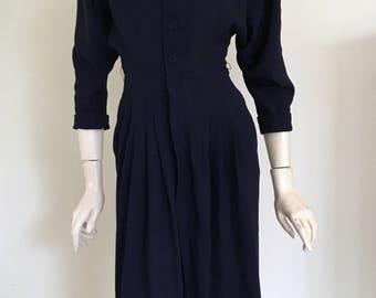 FOR RESCUE / CLEARANCE 40s Navy Day Dress / Full Skirt / Medium