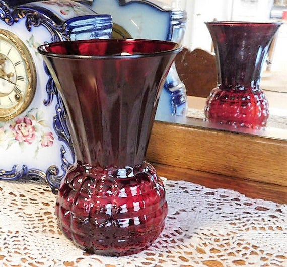 Royal Ruby Red Glass Vase / Anchor Hocking / Block Bubble Optic / Waffle / Honeycomb / Pineapple