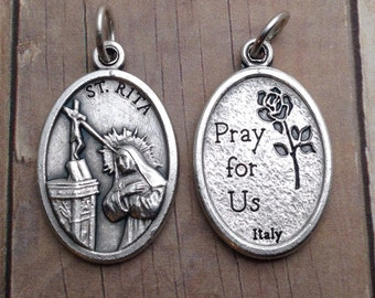 St Rita Medal. Patron Saint of abused women, spousal abuse, bad marriages, and widows. Catholic pendant, Catholic Charm, rosary parts