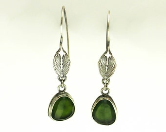 Green Chalcedony Leaf Sterling Silver Dangle Earrings Boho Jewelry JMK