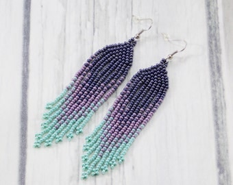 Small gifts/for/women best gifts/for/her tribal earrings beaded jewelry fringe earrings statement earrings hippie earrings grey earrings
