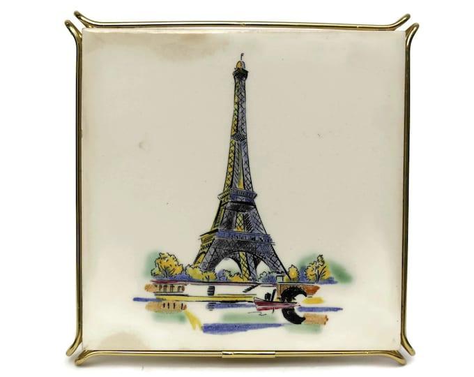 Vintage Paris Souvenir Ceramic Tile Trivet with Eiffel Tower. French Kitchen Pot Rest.