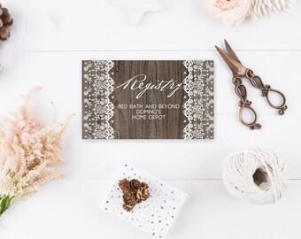 Rustic Lace Registry Cards - Rustic Bridal Shower Enclosure - Wedding Shower Insert - Printable - Instant Download