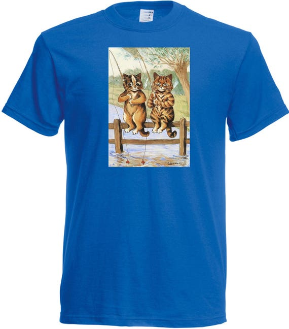 Louis Wain Fishing Cats T shirt. classic round neck short sleeved choice of sizes and colours,