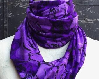 Lavender and Light Purple Rose Print Infinity Scarf - Cotton-Viscose Jersey Knit