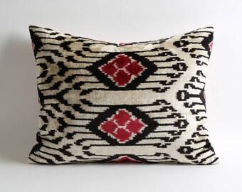 White black red silk velvet ikat pillow cover 16x20 inch bohemian home decor