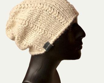 Mens Knit Hat - Mens Beanie - Beanie Hat - Baby Alpaca Hat - Men's Slouchy Hat - Mens Winter Hat - Off White Hat - Warm Winter Hat