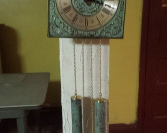 "Grandfather Clock Green Metal Faceplate With Counterweights ""Very Nice"" BEST OFFERS!!!"