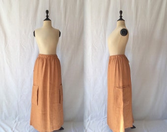 tobacco linen skirt with pockets