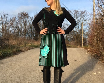 Upcycled Refashioned Wool Tunic Dress with Heart pocket