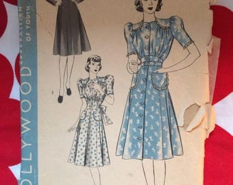 1940s 40s Pretty One-Piece Dress with Tied Sash Original Vintage sewing pattern Hollywood 1950 Bust 34 (12)