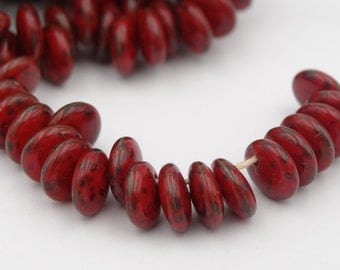 6mm Lentil Red Picasso Glass Bead  25 Pieces