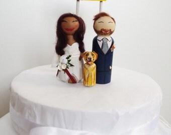Cute Kitsch Custom Vintage Shabby Personalised Wooden Peg Dolls Wedding Cake Topper