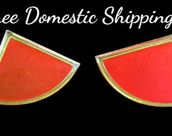 Vintage Red Earrings, Modern Red Earrings, Geometric Red Earrings, Red Translucent Earrings, Enamel Post Earrings, Free US Shipping