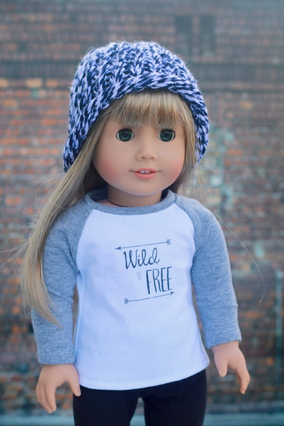 AG Doll Clothes | Blue and White Heather Knitted BEANIE HAT for 18 Inch Dolls such as American Girl