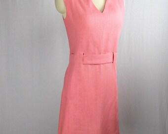 1960's Pink Linen Sleeveless Dress Harzeld's