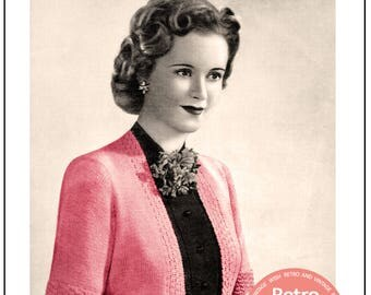 1940s Bolero Knitting Pattern - PDF Knitting Pattern - PDF Instant Download