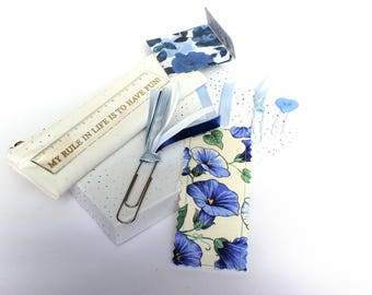 Planner accessories, fabric bookmark, CLEARANCE, BLUE fabric bookmark, linen bookmark, journal clips, blue tassel clip