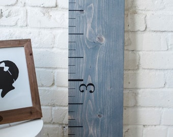 Growth Chart Ruler: Weathered Gray | Wood Home Decor | Family Keepsake Gift | Measuring Stick | Oversized Ruler