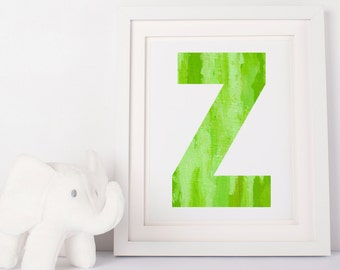 Watercolor Letter-Green Z–Printable 5x7, Digital Download,Nursery Decor, Child Print,Birthday Printable, Baby Wall Art,Baby Shower Decor