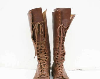 1920s vintage hi-king leather tall boots | 7.5
