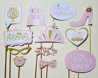 Pink and Gold Princess Party Photo Booth Props-12 Pieces