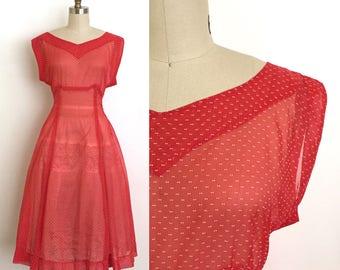 vintage 1940s dress | 40s sheer swiss dot dress