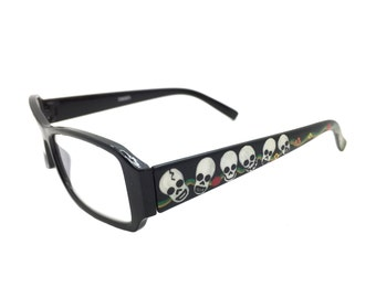 Women's 2.25 Strength Hand Painted Skull Reading Glasses with Flowers and Green and Gold Swirl Detail