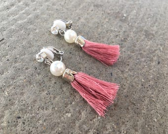 CLIPS watermelon pink Tassel earrings with White Pearl
