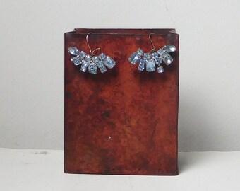 Light Blue Pronged Rhinestone Earrings Upcycled Vintage Rhinestones Fan Design Drop Dangle Burlesque Large Pierced Ears