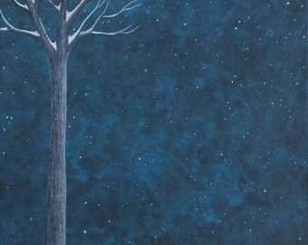 The Fox ran through the Winter Night Art Print