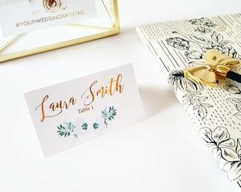 Flower Name Cards, Gold Name Cards, Floral Escort Cards, Wedding Escort Cards, Custom Name Cards, Real Gold Foil, Chic Wedding Decor