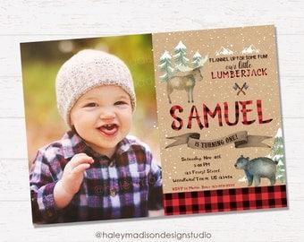 Winter Lumberjack Birthday Invitation, Lumberjack Invitation, Flannel, Woodland Birthday Invitation DIGITAL FILE