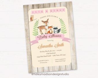 Woodland Baby Shower Invitation, It's a Girl, Rustic Style Invitation, Forest Friends Invitation DIGITAL FILE