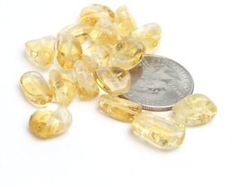 Genuine Natural Yellow Citrine Nuggets Irregular Shaped 10-15mm 6pcs