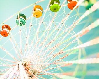 "Ferris Wheel Photography, Carnival Art, Nursery Decor, Girls Room, Boys Room, Nursery Wall Art, Mint, Pink, Fair Decor- ""Color Wheel"""