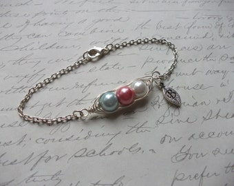 Peas in a pod bracelet with leaf initial