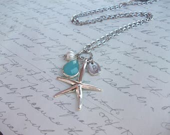 Starfish personnalized necklace with initial pearl and turquoise drop
