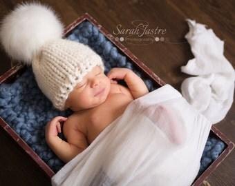 Knit Newborn Hat - Knit Baby Hat - White Baby Hat - Gender Neutral Baby Hat - Faux Fur Pom Pom Baby Hat