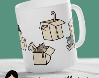 Cats in Boxes Mug, Cute Cat Mug - Hand Illustrated Mug, Kitten Mug, Cat Lady, Kitty, Funny Mug, Animal Mug, Cat Lover, Gift For Her, Him