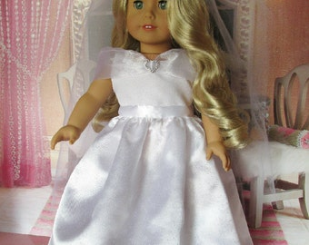 18 inch Doll Dresses, White satin bridal gown and veil, American made to fit 18 inch dolls