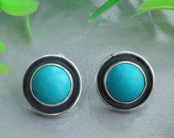 Arizona turquoise stud earrings, silver stud, silver earrings, arizona turquoise, turquoise silver,  arizona turquoise silver