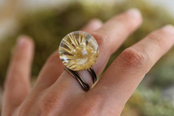 Sunflower ring - vital energy - greek mythology -  ajustable - eco resin - vintage - magical ring - magic garden - woodland -