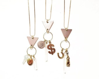 SALE-Good Fortune Charm Necklaces for Love, Money, and Luck with Vintage Charms and Quartz Crystals