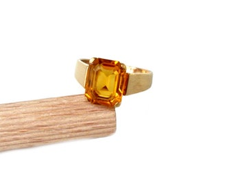 Gold-plated ring with synth. Citrine, GR 53, gold plated ring syntetic citrine US size 6.4 M UK size 1/2