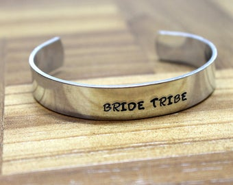 Bride Tribe Bracelet / Bridesmaid Gifts / Bachelorette Favors / Maid of Honor Gift / Hand Stamped Bracelet / Bachelorette Party
