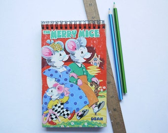 Journal - Handmade Notebook From Vintage Children's Book - The Merry Mice