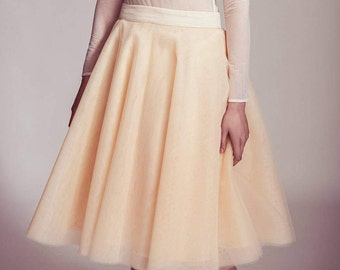 Beautiful tulle skirt in soft apricot