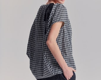 Gray-Black Plaid Boatneck Top / Loose Blouse / Modern Casual Top / Elegant Cottoned Top / Loose Plaid Blouse by AryaSense / TBLN17KR