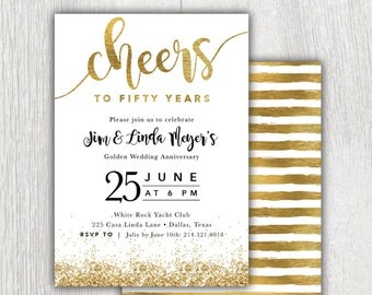 Cheers to 50 Years Invitation 50th Anniversary Invitation
